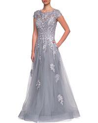 La Femme - Embellished Mesh A-line Gown - Lyst