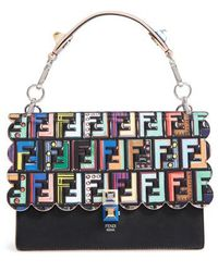 Fendi - Kan I Stamped Zucca Logo Leather Top Handle Bag - Lyst