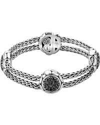 John Hardy - Kali Sterling Silver Pure Lava Fire Four Station Bracelet With Black Sapphire - Lyst