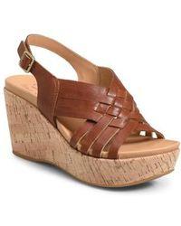 9a623432f81c Lyst - Kork-Ease Sabrina Leather Wedge Sandals in Blue