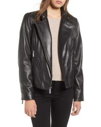MICHAEL Michael Kors - Asymmetrical Zip Leather Moto Jacket - Lyst
