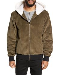 Twenty - Champlain Cotton Corduroy & Faux Shearling Hooded Bomber Jacket - Lyst