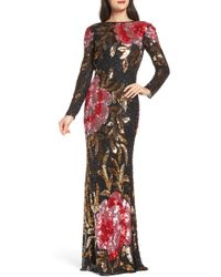 Mac Duggal - Drape Back Floral Sequin Gown - Lyst