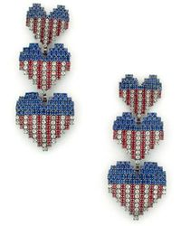 Elizabeth Cole - Patriotic Crystal Drop Earrings - Lyst