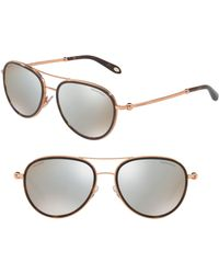 cf76b0242c05 Tiffany   Co. - Tiffany 55mm Polarized Metal Aviator Sunglasses - Havana  Mirror - Lyst