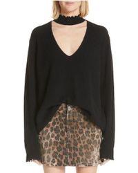 R13 - High Waist Leopard Print Distressed Denim Mini Skirt - Lyst