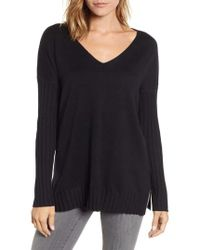Vince Camuto - V-neck Ribbed Sweater - Lyst