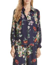 The Great - Floral Silk Blouse - Lyst