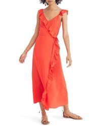 Madewell - Ruffle Faux Wrap Maxi Dress - Lyst