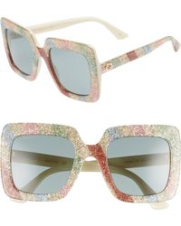 1adb03f8d10 Lyst - Gucci 53mm Glitter Stripe Square Sunglasses - in Metallic