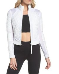 BLANC NOIR - Leather & Mesh Moto Jacket - Lyst