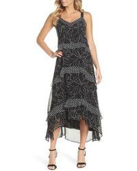 Taylor Dresses - Polka Dot & Floral Tiered Maxi Dress - Lyst