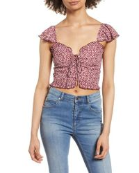 Band Of Gypsies - Lace-up Crop Top - Lyst