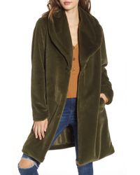Leith - Faux Fur Long Coat - Lyst