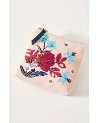 Anthropologie - Small Velvet Floral Pouch - Lyst