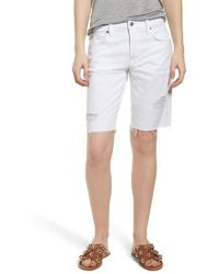 7 For All Mankind - 7 For All Mankind Distressed High Waist Straight Leg Bermuda Shorts - Lyst