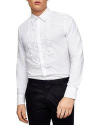 Topman | Slim Fit Ruffle Dress Shirt | Lyst