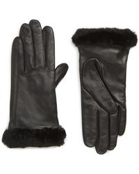 UGG - Ugg Touchscreen Compatible Leather Gloves With Genuine Shearling Trim - Lyst