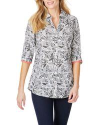 4f7e16a6 Foxcroft - Faith Leaf Print Wrinkle Free Tunic Shirt - Lyst