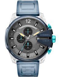DIESEL - Diesel Mega Chief Chronograph Polyurethane Strap Watch - Lyst