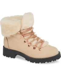 18ce6f4f5ac Lyst - J.Crew Macalister Shearling Wedge Boots in Natural