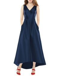 Alfred Sung - High/low Sateen Twill Gown - Lyst