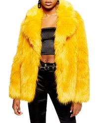 TOPSHOP - Camille Hooded Faux Fur Coat - Lyst
