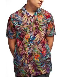 TOPMAN - Rainbow Palm Print Shirt - Lyst