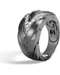 John Hardy - Modern Chain Diamond Pave Ring - Lyst