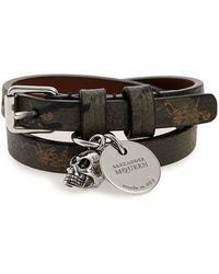 Alexander McQueen - Double Wrap Leather Bracelet - Lyst