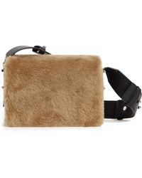 AllSaints - Versailles Leather & Genuine Shearling Shoulder Bag - Lyst