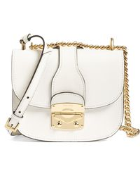 38a5024858cf Lyst - Miu Miu Madras Two-tone Leather Top-handle Satchel in Gray
