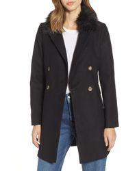 TOPSHOP - Naomi Faux Fur Collar Coat - Lyst