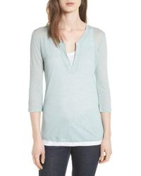 Majestic Filatures - Double Layer Henley Top - Lyst