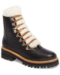 Marc Fisher - Izzie Genuine Shearling Lace-up Boot - Lyst