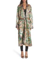 Etro - Tie Waist Silk Blend Metallic Jacquard Jacket - Lyst
