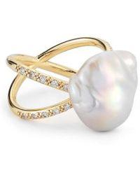 Mizuki | Pearl & Diamond Crossover Ring | Lyst