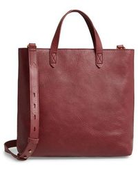 Madewell - Small Transport Leather Crossbody Tote - Burgundy - Lyst