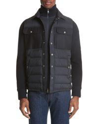 5b76772a18e2 Lyst - Moncler Men s 942160094778989 Black Wool Down Jacket in Black ...