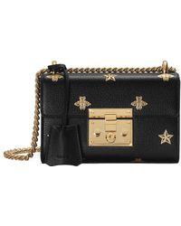 71ec571475f3 Lyst - Gucci Padlock Studded Leather Shoulder Bag in Black