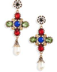 Shashi - Gloria Imitation Pearl & Crystal Drop Earrings - Lyst