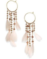 Serefina - Cascading Crystal & Feather Hoop Earrings - Lyst