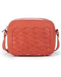 Sole Society - Hand Woven Faux Leather Crossbody Bag - Coral - Lyst