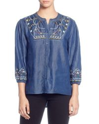 Catherine Malandrino - Embroidered Chambray Top - Lyst