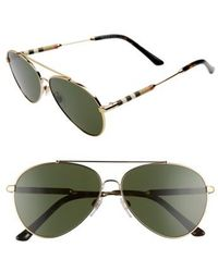 Burberry - 57mm Aviator Sunglasses - Lyst