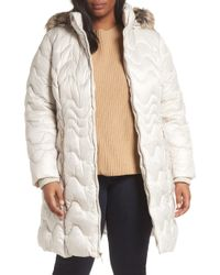 Gallery - Faux Fur Trim Hooded Puffer Jacket - Lyst
