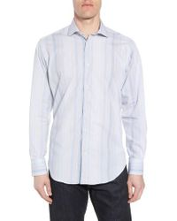 Thomas Dean - Regular Fit Stripe Sport Shirt - Lyst
