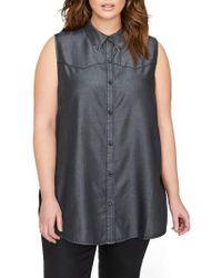 Addition Elle - Ruffle Back Western Shirt - Lyst