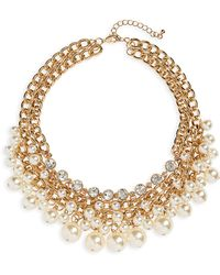 Cara - Imitation Pearl Bib Necklace - Lyst