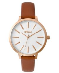 Breda - Joule Round Leather Strap Watch - Lyst